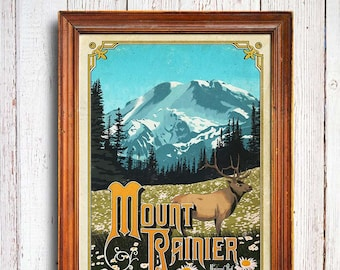 Mount Rainier poster, Mount Rainier National Park , Mount Rainier Washington, northwest art print, Mount Rainie gift, national park poster