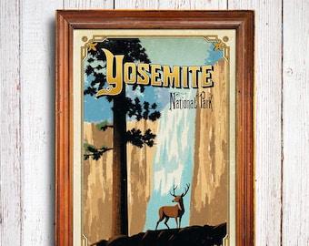 Yosemite poster, Yosemite National Park , Yosemite falls, Yosemite art print, Yosemite deer, Yosemite gift, national park poster
