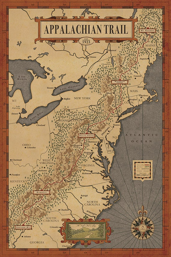 Appalachian Trail Map The people\'s Trail Map Hiking | Etsy
