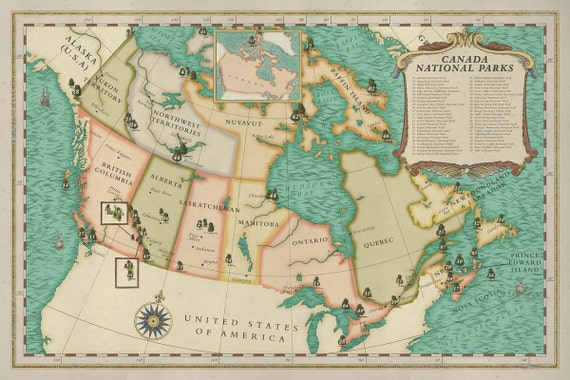 Canada National Parks Map, Vintage style Canada Map, Canada Explorer map  print, Canada States Map