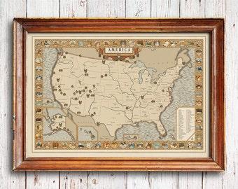 National Parks Map, Vintage style America Map, hiking art, Explorer map print, vintage national park, Explorer gift, us national park map