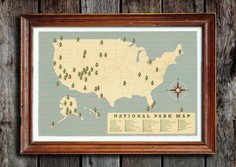 National park checklist National parks map National park | Etsy