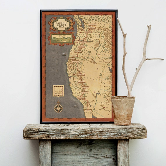 Pacific Crest Trail Map - Hiking trail map, north west hiker, hiker map,  pacific trail map, pacific northwest art, hiker map, pct map
