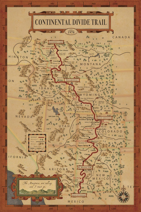 Cdt Colorado Map.Continental Divide Trail Map Hiking Trail Map Continental Etsy