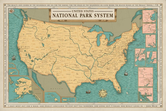 United States Map Of National Parks.National Park System Units Map Poster National Park Service Etsy