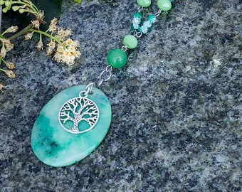 Agate Crystal With Tree of life Necklace