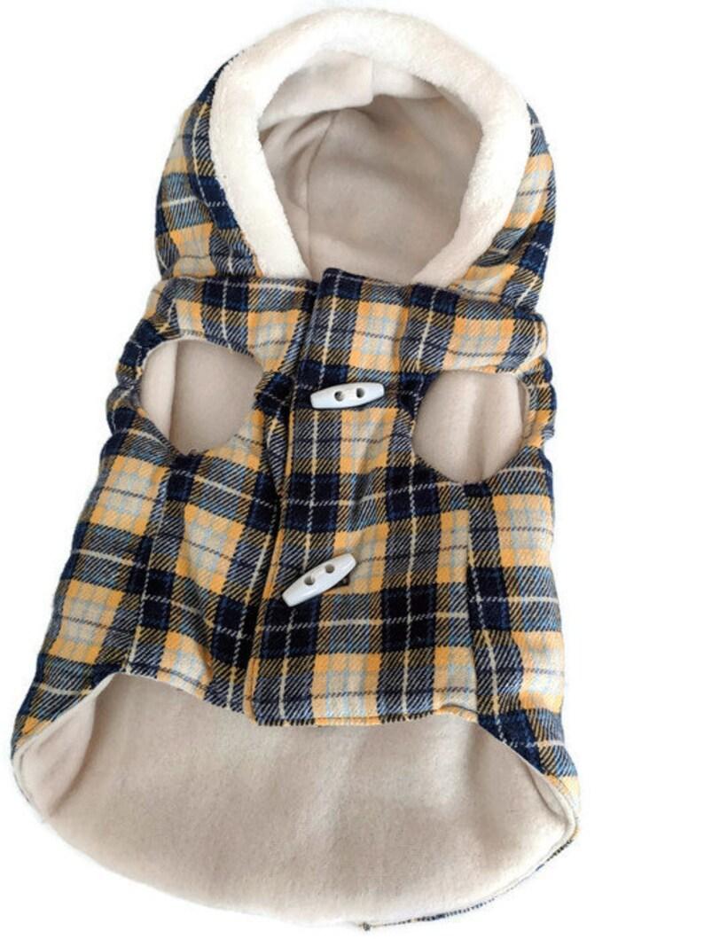 Manteau pour petit chien dans un tartan imprimer avec doublure, manteau à capuchon de petit chien, polaire chien, chien Sweat à capuche, manteau pour