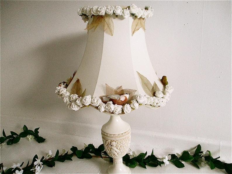 Large cream Ivory bird lampshade shabby chic hand decorated image 0