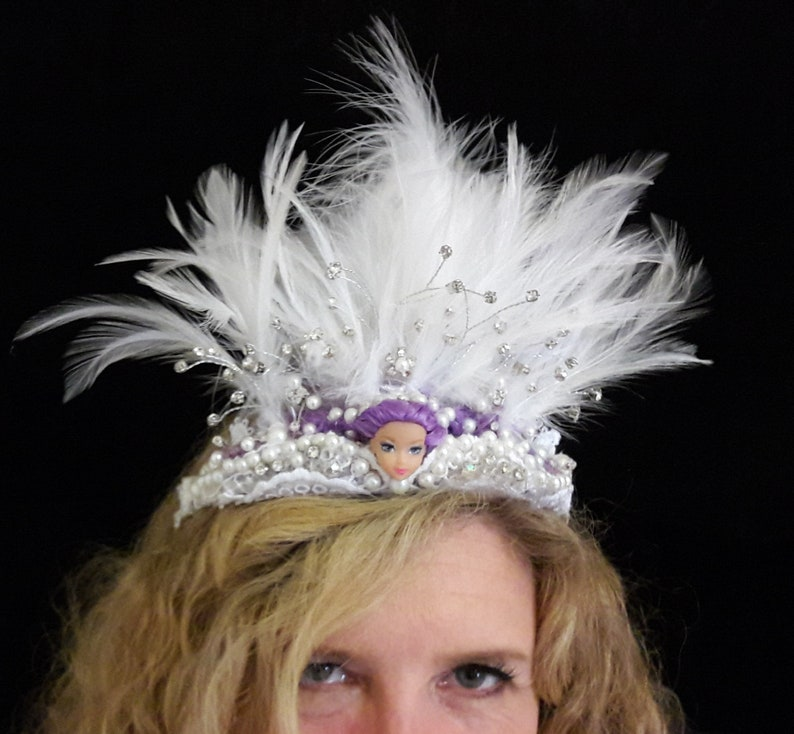 White featherd jewelled crown Doll face kitsch headdress rock image 0