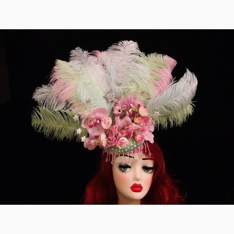 Pink green feathered showgirl headdress with flowers beading image 0