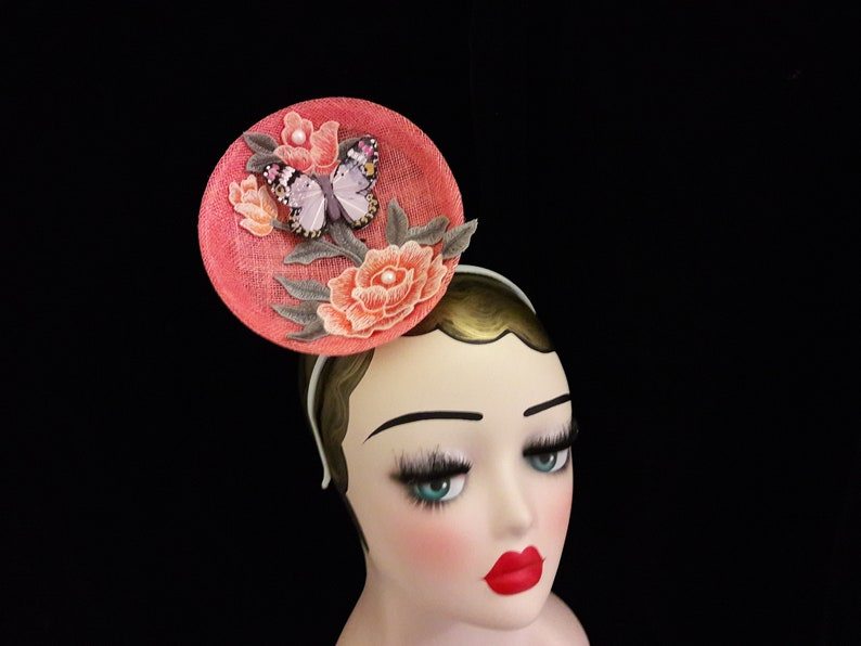 Large peach and orange fascinator with flowers and lilac image 0