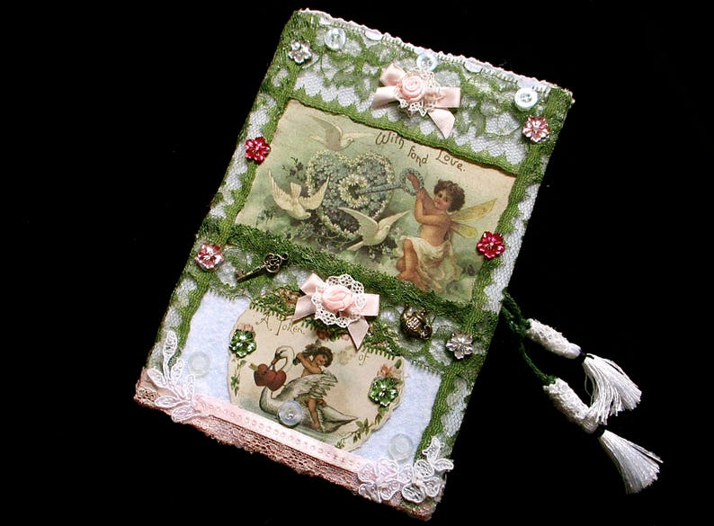 Cherub notebook green vintage lace shabbychic book decorated image 0