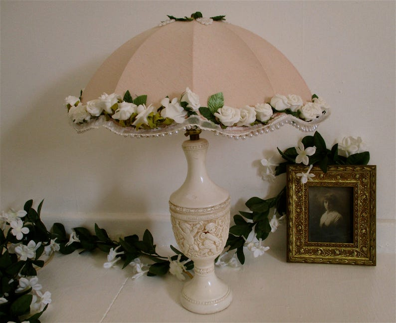 Large pink peach lampshade with white roses circular pink image 0