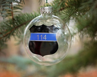 police officer ornament personalized ornament christmas ornament first responder custom gift christmas ball law enforcement - Police Officer Christmas Decorations