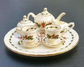 a cup of christmas teamini tea setminiature tea set christmas decorfine bone chinavintage christmasa cup of christmas tea mini tea set