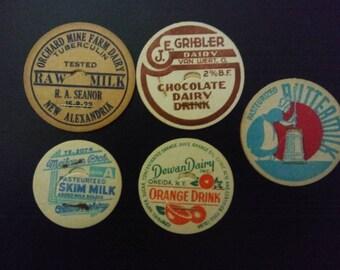 Vintage Milk Bottle Tops/Antique Milk Bottle Caps/Cardboard Dairy Tops/Lot of 10 milk Bottle Caps/Vintage Dairy/Advertising Collectible