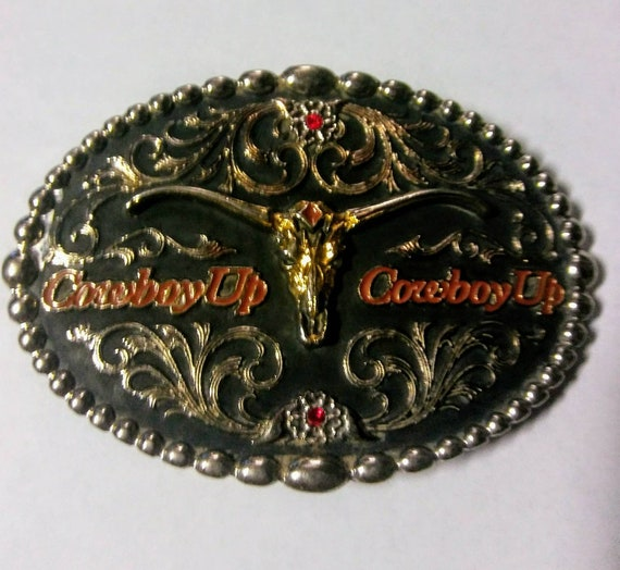 Vintage ceinture boucle Vintage Cowboy Up boucle Montana   Etsy af02a1e5212