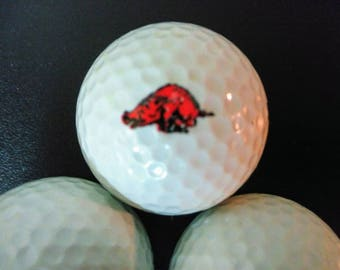 Arkansas Razorbacks Golf Ball Sleeve/University of Arkansas/ Razorback Hogs Golfballs/Vintage from 1994 Arkansas Razorbacks 3 Golf Balls