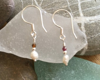 Pearl and Tourmaline Earrings