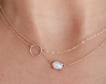 Opal Necklace, Solid Gold Necklace, Opal 14K Necklace, Opal Jewelry,  October Birthstone Necklace, 14K necklace