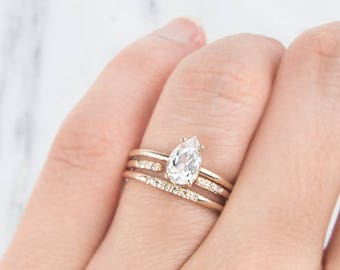 14K white sapphire ring, Pear Cut White Sapphire Ring, Unique Engagement Ring, 14K Solid Gold Ring, Gold Ring, Engagement ring