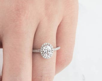 Engagement ring, Halo engagement ring, White Sapphire Ring, Unique Engagement Ring, 14K Solid Gold Ring, Gold Ring, Diamond ring