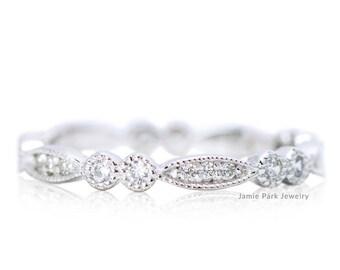 Eternity Ring, Engagement Ring, Wedding Band, Wedding Ring, Diamond Ring, Deco Ring, Milgrain Ring, Solid Gold Ring, Stacking Ring,