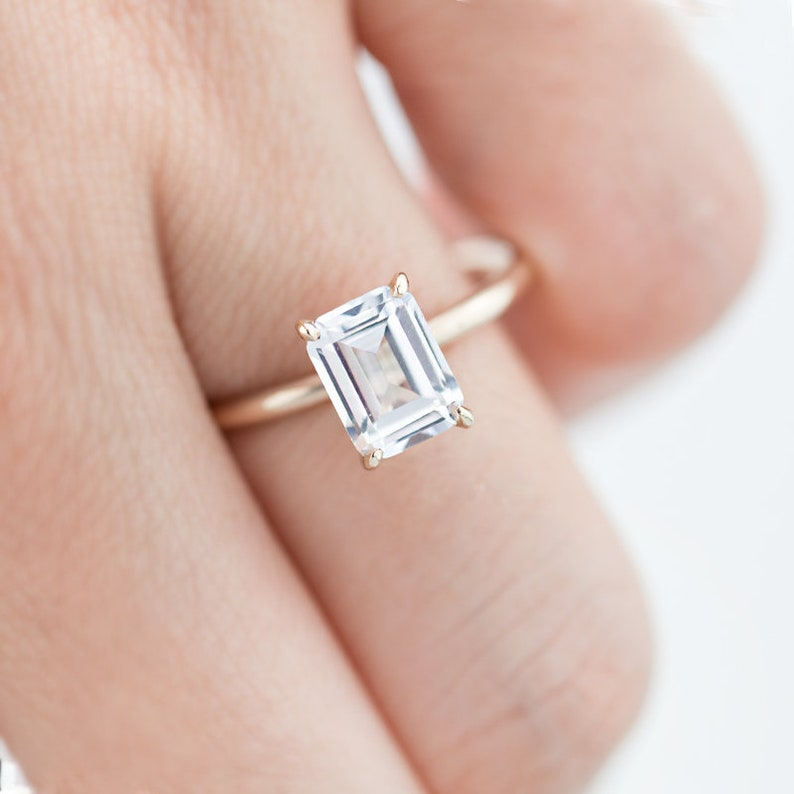 045c1d0722a6e White Sapphire Ring, Emerald Cut White Sapphire Ring, Unique Engagement  Ring, Engagement Ring, Wedding Ring, Promise Ring, Statement Ring