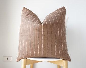 Brown Tribal Hemp Hand Woven Natural Dye Color Hmong Lumbar Pillow Cover