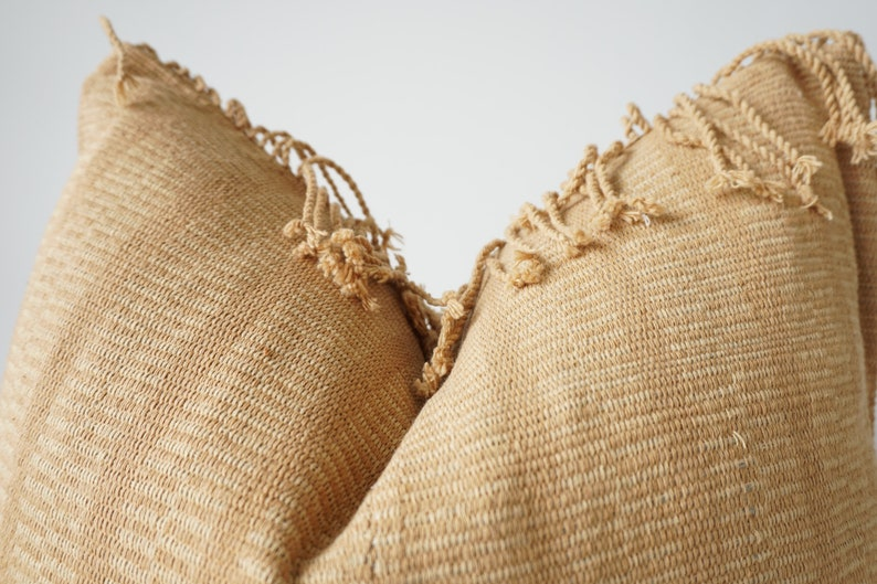 brown Tribal Hemp Hand Woven Natural Dye Color Pillow Cover