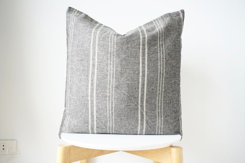 Black Gray Striped Pillow Cover image 0