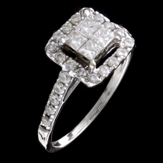 14kt white gold halo diamond ring  98ct of diamonds