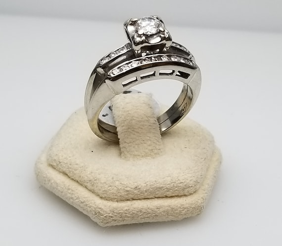 Vintage 14 Karat White Diamond Set Bridal Set