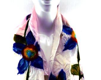 Nuno Felted Silk Scarf from Bursa, Turkey: Floral Pattern