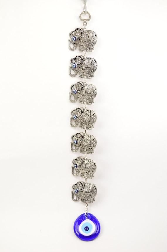 Handmade Seven Elephants Evil Eye Nazar Alloy Wall Hanging