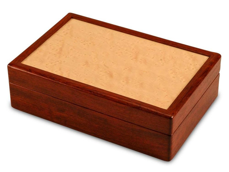 Mens Jewelry Box Cufflinks and Ring Display /& Storage Box Bubinga Wood Box with Lined compartments Valet Box Small Wooden Box with Lid