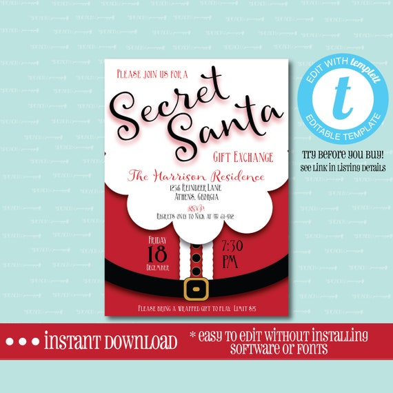 Editable Secret Santa Invitation Templett Christmas Gift Exchange Holiday White Elephant Party Digital File Instant Download