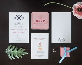 Grand Budapest Hotel Inspired Custom Wedding Invitation - Save the Dates - RSVP cards - Menu - Thank you cards