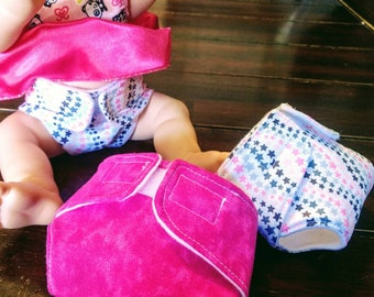 Reuseable Baby Alive Doll Style Diapers 3 pack, washable NEW wipes holder add on Custom diaper gift bag sets available