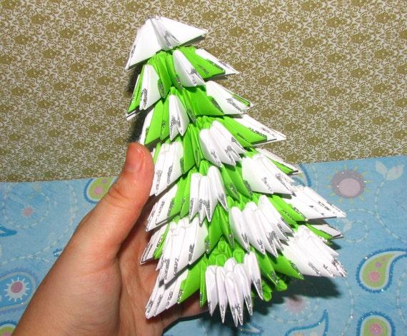 image 0 - 3D Origami Christmas Tree With Snow Modular Origami Original Etsy