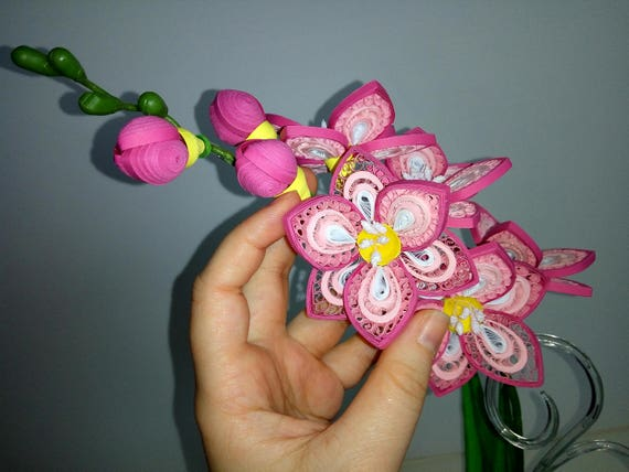 3d Quilling Art Pink Freesia Flower Decorations Paper Flowers Etsy