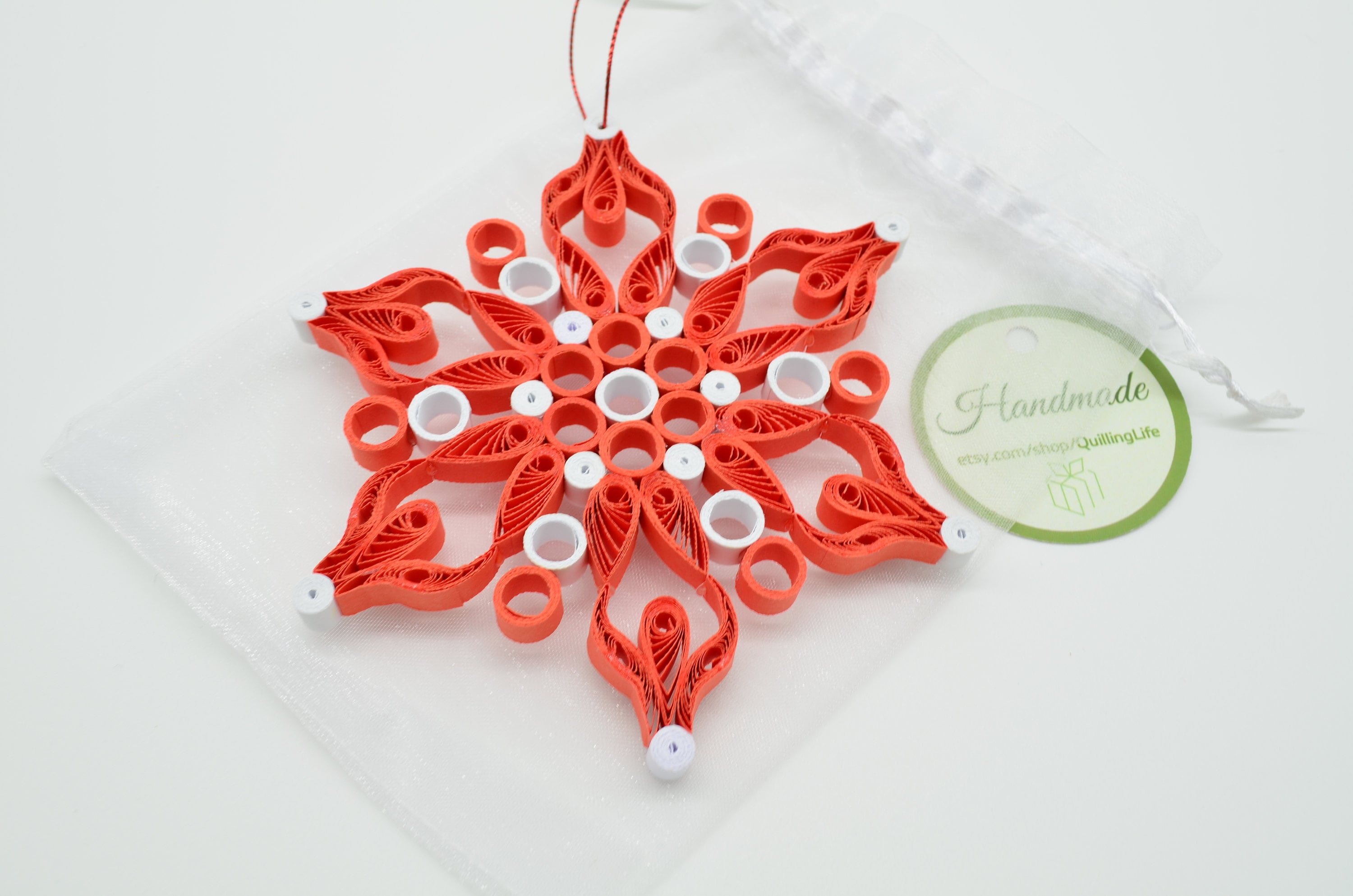 Quilling Christmas Ornaments Red Paper Snowflake Snowflakes Ornaments Christmas Gifts For Grandma