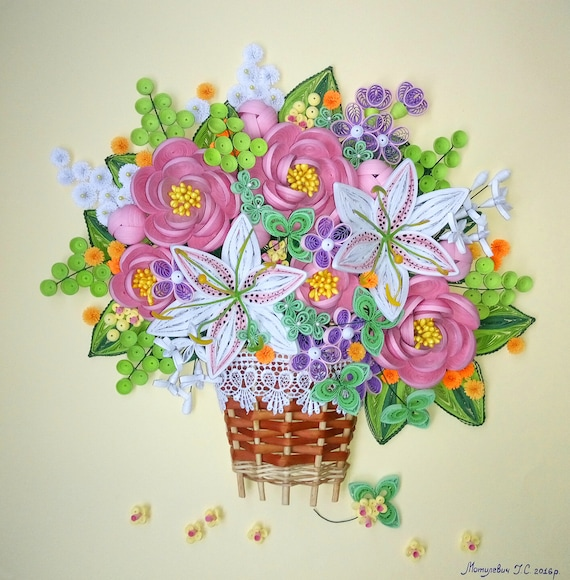 Quilling Art 3d Wall Art Picture Bouquet Of Summer Etsy