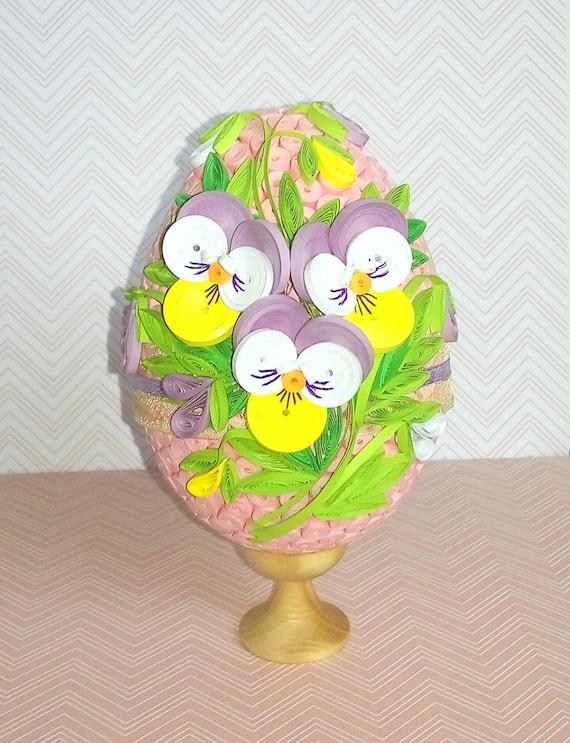 Wspaniały Produkty podobne do Quilled pisanka z bratek kwiaty 3D Quilling RF57