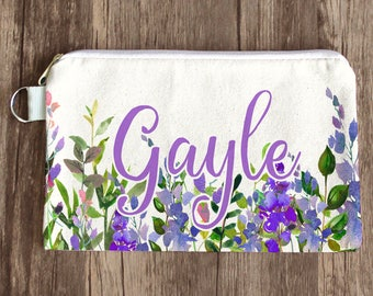 Gift for Her, Bridesmaid Makeup Bag, Bridesmaid Gift, Monogram Cosmetic Bag, Floral Make Up Bag, Bachelorette, Will You Be My Bridesmaid Bag