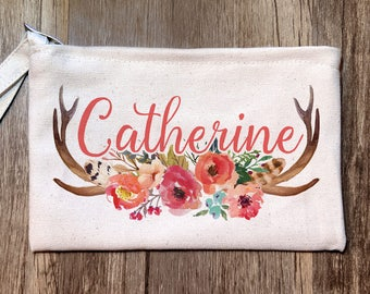 Personalized Pencil Pouch, Rustic Wedding Favor, Custom Cosmetic Bag, Bachelorette Makeup Pouch, Wedding Party Gift, Custom Floral Pouch