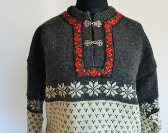 125d856e610 Vintage Norwegian Sweater   Norway pure wool   Large   L   Silver clasps    Nordic   Scandinavian   Pullover   Winter   Gray