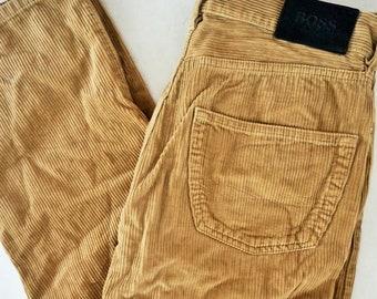 6af6f2e0 Vintage Velvet HUGO BOSS Mens Denim Jeans / W 33 L 36 / 90's / Pants /  Trousers / Brown / Jean / Beige