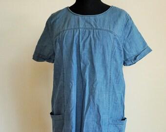 Vintage Denim Dress / Sarafan / Dresses / Long Shirt / XL / Large / L /  Mini / shirt dress / Onepiece / Overall / Romper / Overalls
