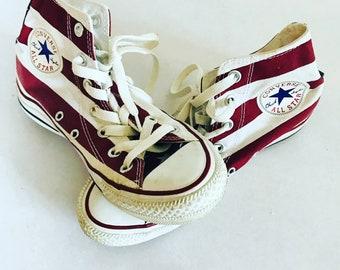 3cf4c0d4877de Vintage Converse baskets   haute bottes   blanc   bleu   rouge USA Flag  impression   All Star   chaussures   Womens 6